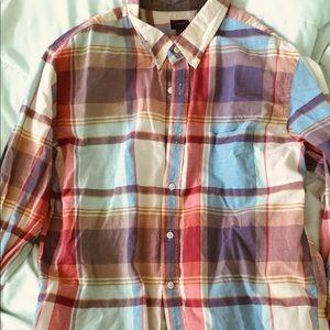 men's large j crew button down plaid shirt!
